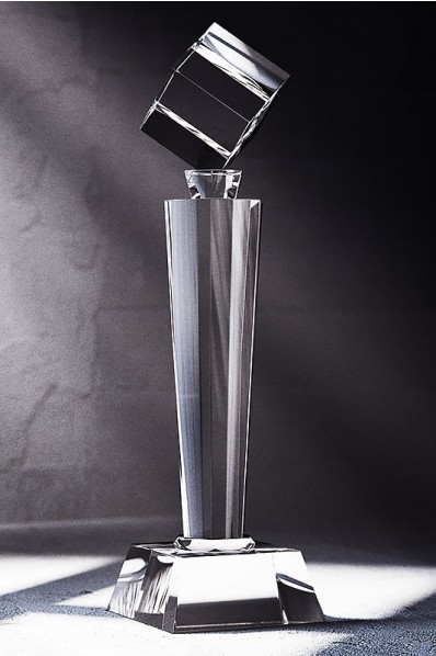 Slender Crystal Statuette with Cube on top
