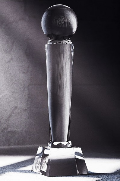 Sleek Crystal Column Statuette with Sphere