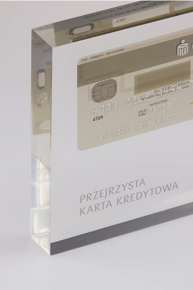 Acrylic Block with Embedded Credit Card