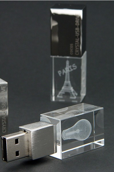 Crystal USB pendrive with custom 3D laser engraving