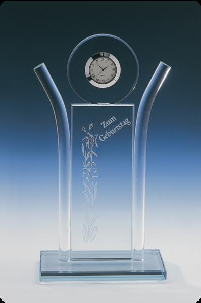 Symmetric Glass Clock Statuette