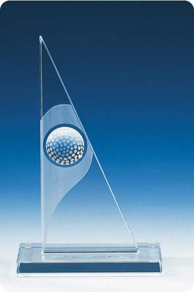 Triangular Glass Plaque with Golf Ball