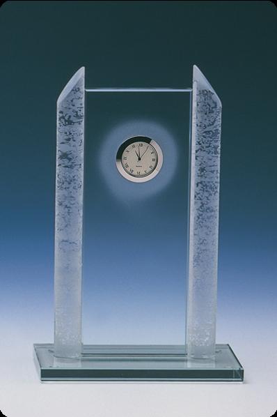 Symmetrical Pillar Glass Statuette Clock