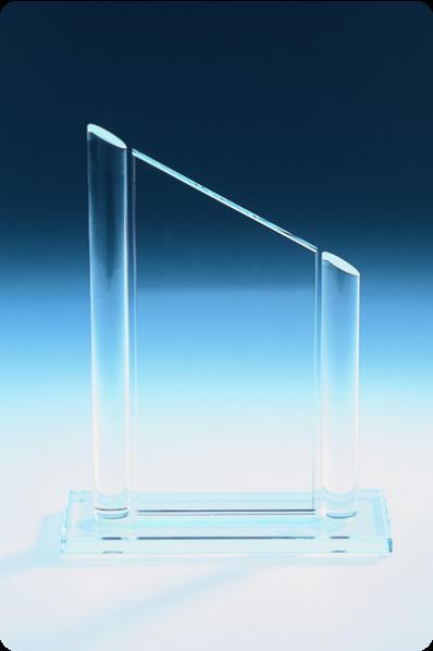Slanted Plaque Glass Trophy