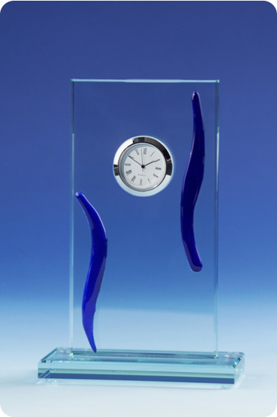 Blue Accent Crystal Clock Plaque
