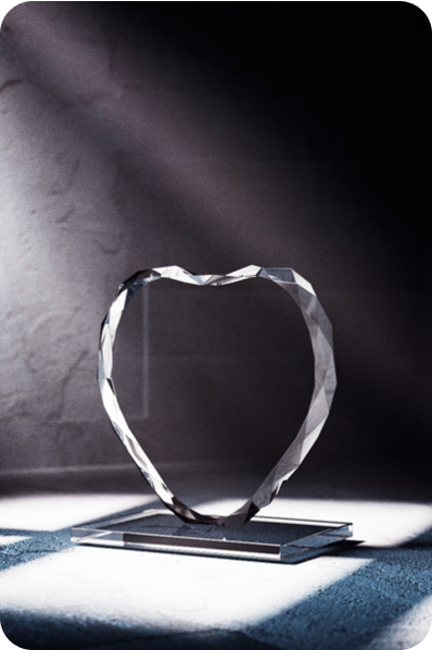 Heart Shaped Crystal Plaque