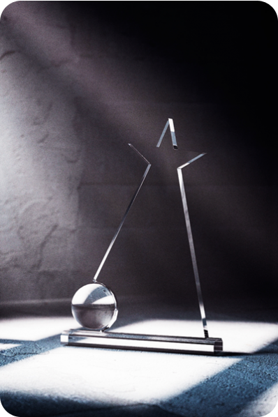 Crystal Statuette with Ball