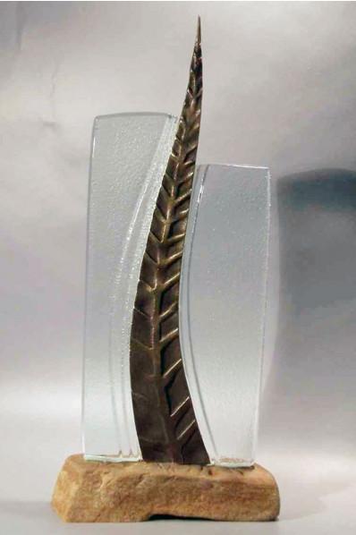 Metal Leaf Glass Statuette