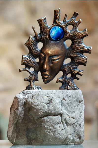 Jelly Fish Metal Stone Statuette