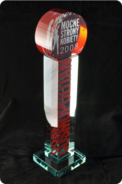 Narrow Interior Colored Award Trophy
