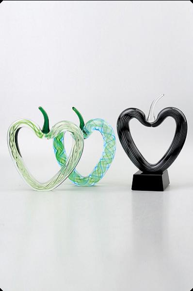 Color Heart Glass Trophies