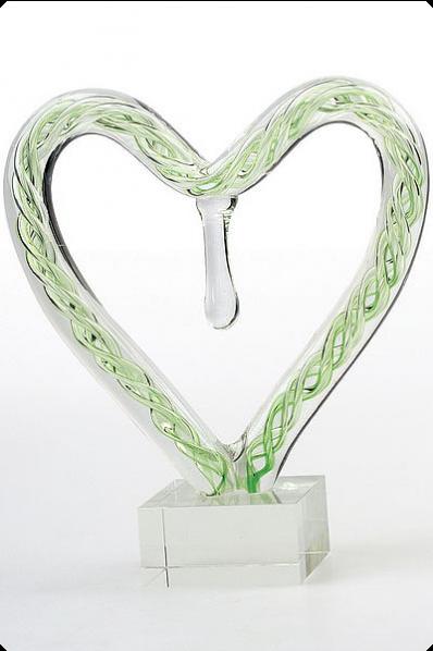 Green Glass Heart Figure