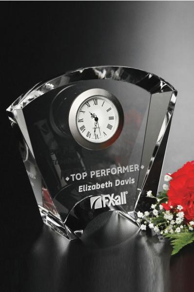 Crystal award with a clock