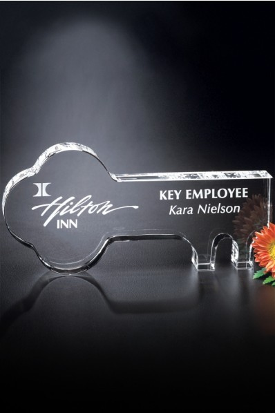 Glass key shaped award
