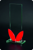 Narrow Tall Glass Plaque with Red Leaf Accents