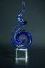 Blue Violet Spiral Crystal Statuette Clef