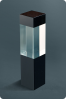 Clear & Black Glass Cube Statuette