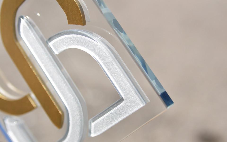 Custom Glass Award with Metal