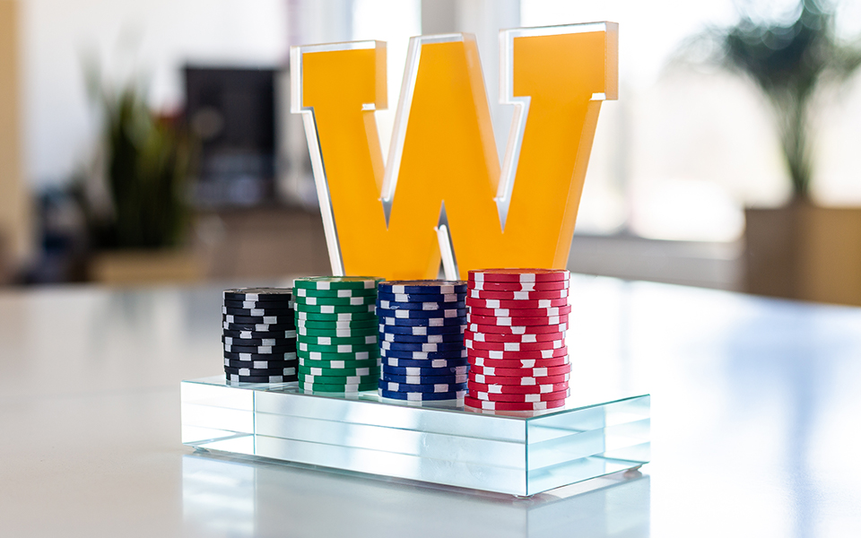 Custom Poker Glass Trophy