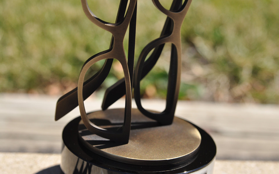 Handmade Metal Custom Eye Glasses Trophy